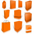 Stock Photo: Ten orange blank boxes isolated on white