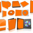 Foto Stock: Orange multimedia disks and boxes on white
