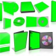 Green multimedia disks and boxes on white — Foto Stock