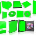 cajas en blanco y verdes discos multimedia — Foto de Stock