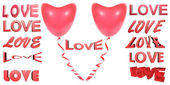 Many red 3D inscriptions love. Red balloon a heart — Stock Photo