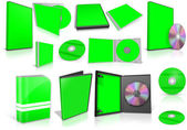 Green multimedia disks and boxes on white — Stock Photo
