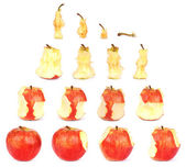 Timeline of eating an Apple (Clipping path) — Stock Photo