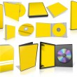 Yellow multimedia disks and boxes on white — Stockfoto