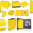Yellow multimedia disks and boxes on white — Foto Stock