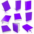 Nine violet empty book template — Stock Photo
