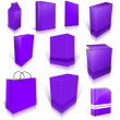 Stock Photo: Ten violet blank boxes isolated on white