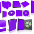 Violet multimedia disks and boxes on white — Stockfoto