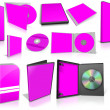 Magenta multimedia disks and boxes on white — Stok fotoğraf