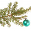 Christmas tree outfit with a decorative green ball. — Stockfoto #39084869