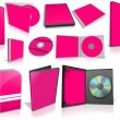 Pink multimedia disks and boxes on white — Stockfoto