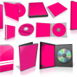 Pink multimedia disks and boxes on white — 图库照片