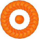 Orange in a circle — Stock Photo