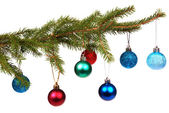 Christmas tree outfit with a decorative color ball. — Stock Photo