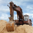 Dredge on a heap of sand - Stock Photo