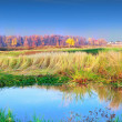 Stock Photo: Mellow autumn on river bank panoramic