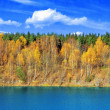 Mellow autumn on lakeside panoramic — Stock Photo