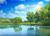Landscape of beautiful lake and sunlight — Foto Stock