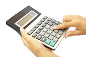 Calculator with hand — Stock Photo