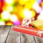 Christmas gift box with christmas balls — Stock Photo #19158137