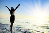 Happy Woman Jumping in Sea Sunset — Stock Photo