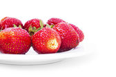 Fresh strawberry in the white bowl — Stock Photo