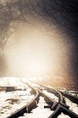 Fog on railway line. — Zdjęcie stockowe