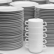 Pure white crockery - Stock Photo