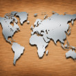 Metal World Map on wood — Stock Photo