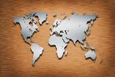Metal World Map on wood — Stock Photo
