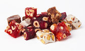 Sweet turkish delights with nuts — Stock Photo