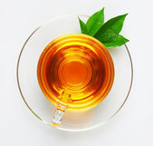 Cup with tea and green leaf — Stock Photo