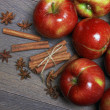 Fresh red apples with cinnamon and anise — Stock Photo