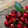 Cherry with leaf — Foto de Stock