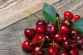 Cherry with leaf — Stock fotografie