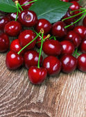 Cherry with leaf — Stock Photo