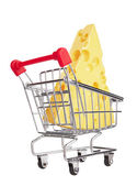 Shopping Cart with Cheese — Stock Photo