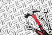 Many Tools on metal — Stock Photo