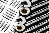 Set of wrenches on metal — Stock Photo