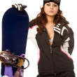 Woman with snowboard — Stock Photo #1377230
