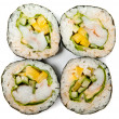 Four rolls of sushi on white background — Stock Photo