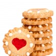 Festive heart cookies isolated on white background — Stock Photo