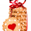 Stock Photo: Festive heart cookies isolated on white background