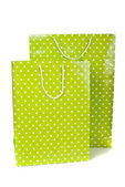 Green paper shopping bag isolated on white background — Stock Photo