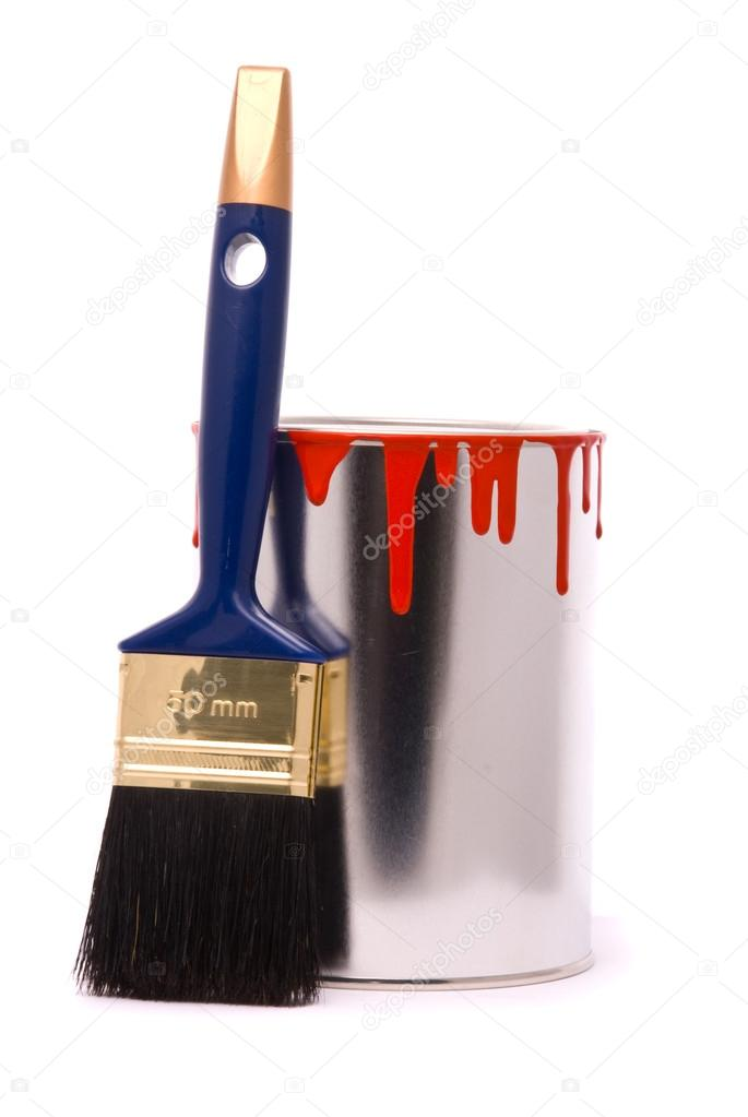 Can of red paint and professional brush on a white. — Stock Photo #13490780