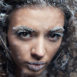 Portrait of young woman with snow make-up. Christmas snow queen - Stock Photo