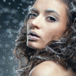 Portrait of young woman with snow make-up. Christmas snow queen — Stock Photo
