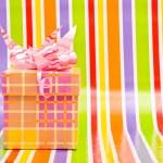 Gift box on a stripe background — Stock Photo #2337402