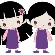 Stock Vector: Twin Girls