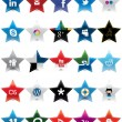 Star Social Media icons - Stock Vector